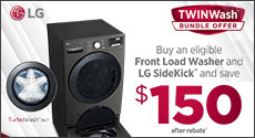 LG - Buy an eligible Front Load Washer and LG SideKick and save $150. Expires: 4-1-20