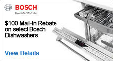 Bosch - Receive a $100 Online Rebate with the purchase of select Bosch Dishwashers. Expires: 9-30-15