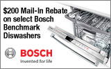 Bosch - Receive up to a $200 Mail-In rebate with the purchase of a select Bosch Benchmark Dishwasher. Expires: 9-30-14