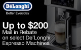 DeLonghi - Receive up to a $200 Mail-In Rebate with the purchase of a select Espresso Machine. Expires: 7-15-13