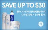 GE - Save up to $30 with the purchase of a select Refrigerator with up to three replacement water filters. Expires: 12-31-13
