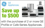 GE - Receive up to a $500 Mail-In Rebate with the purchase of select GE Cafe or Profile Appliances. Expires: 5-7-14