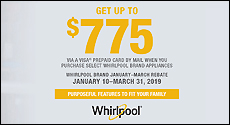 Whirlpool - Receive up to a $775 Mail-In Rebate with the purchase of select Whirlpool Kitchen Appliances. Expires: 03-31-19